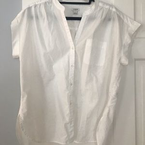 J Crew Short Sleeve White Blouse